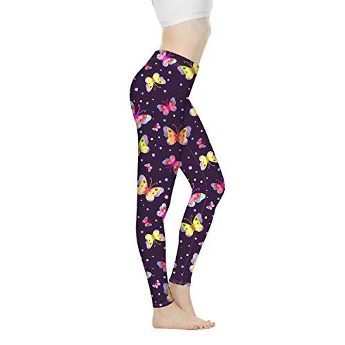ShowuDesigns - Pantalones de yoga con control de barriga para mujer, para entrenamiento, correr, deportes, gimnasio, etc. Morado Mariposa Púrpura S