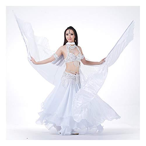 XIALEY Alas De Danza del Vientre con Bastón Telescópico, Disfraz De Baile De Rendimiento, Alas De Ángel ISIS, Alas De Mariposa para Adultos,Blanco
