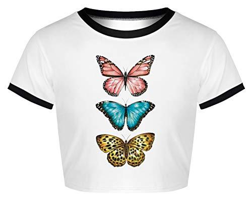Ocean Plus Camiseta de manga corta para mujer, de verano, cuello redondo, terror, manicura, Halloween, cráneo, impresión digital, camiseta de manga corta Tres mariposas. M