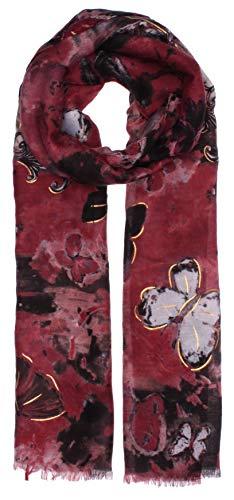 Highlight-Company Bufanda ligera de transición, modelo Folio & Mariposas, pañuelo de entretiempo, para otoño/invierno, en 6 colores 2217 burdeos Talla única