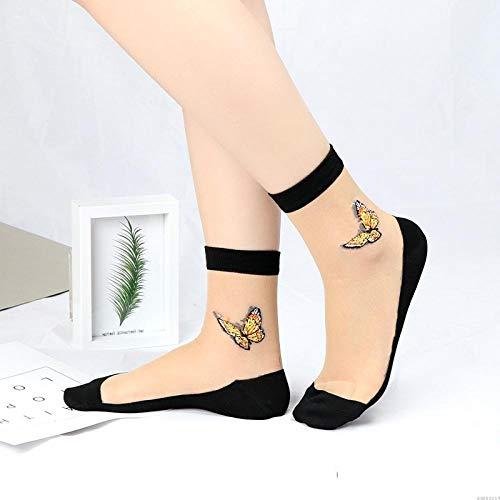 bayrick Calcetines de Mujer,Nuevas Medias de Seda de Flores Calcetines de Seda de Cristal Invisible * 10-8_A