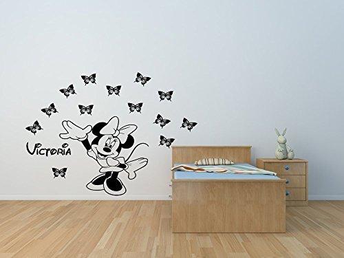 Vinilo de vinilo de Minnie con calcomanías con mariposas y su elección de nombre. Calcomanía de pared personalizada de Minnie Mouse.