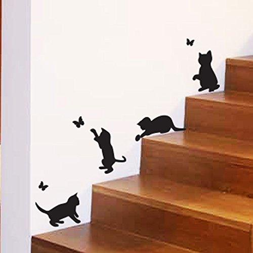 wall4stickers Gatos Jugando Mariposas de Captura casa Vinilo Etiqueta de la Pared decoración de la Etiqueta Mural KIchen Mascotas decoración del Papel Pintado habitación de los niños