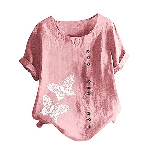 2021 Nuevo Camiseta de Mujer, Verano Moda Mariposa Impresión Manga Corta Algodón y Lino Elegante Blusa Camisa Cuello Redondo Camiseta Casual Suelto Tops Fiesta T-Shirt Original tee