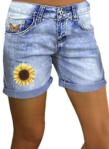 Pantalones Cortos de Mezclilla Sunfloral para Mujer Pantalones Vaqueros Azules Lavados Bolsillo con Dobladillo Enrollado Pantalones con Estampado de Mariposas de Verano Informal