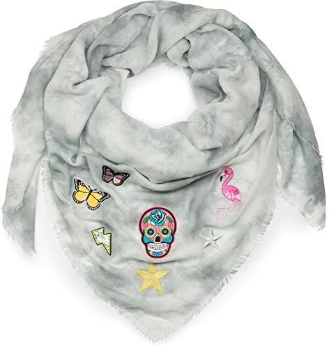 styleBREAKER pañuelo cuadrado XXL en óptica batik vintage con parches de calavera, flamenco, estrella, mariposa, lentejuelas, chal, pañuelo, señora 01016143, color:Gris