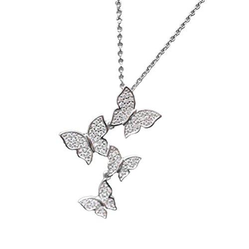 BESTOYARD Colgante de Collar de Mariposa de Moda Colgante de Cadena de clavícula de joyería de Plata esterlina para Mujer Señora