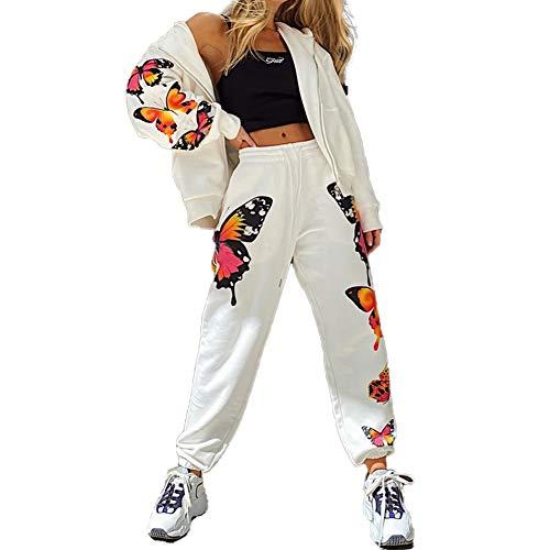 Chándal para Mujer 2 Piezas Set Chándales Completo Manga Larga Deportivos + Pantalones Largos con Mariposa para Casual, Gimnasio, Entrenamiento (Blanco, XL)