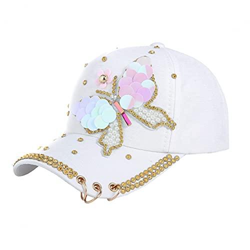 DAIDAICDK Sombreros con Lentejuelas Mariposa Gorras béisbol Ajustables Verano para Mujer Gorra Informal Viaje para Senderismo