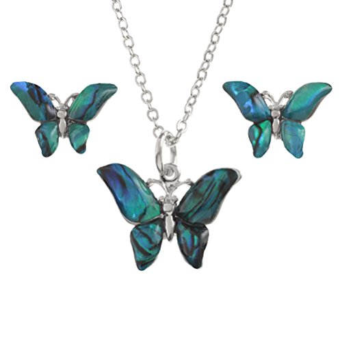 Kiara joyas mariposa caja colgante collar y Stud Earring Set con incrustaciones natural azulada verde Paua Abalone Shell de 45 cm cadena de rastro, color plateado chapado en rodio
