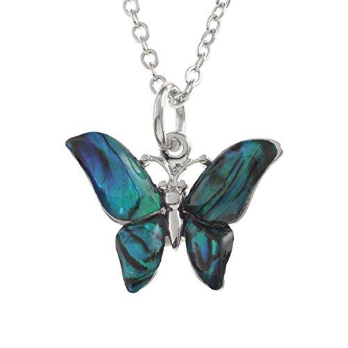 Kiara joyas mariposa colgante collar incrustados con Natural verde azulado Paua Abalone Shell de 45cm cadena de rastro., resistente a las manchas color plateado chapado en rodio.