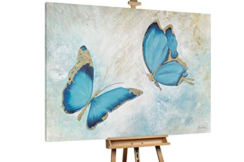 Kunstloft® Extraordinario Cuadro al óleo 'Dance in The Air' 200x150cm   Original Pintura XXL Pintado a Mano sobre Lienzo   Mariposa Animales Azul Blanco   Mural de Arte Moderno
