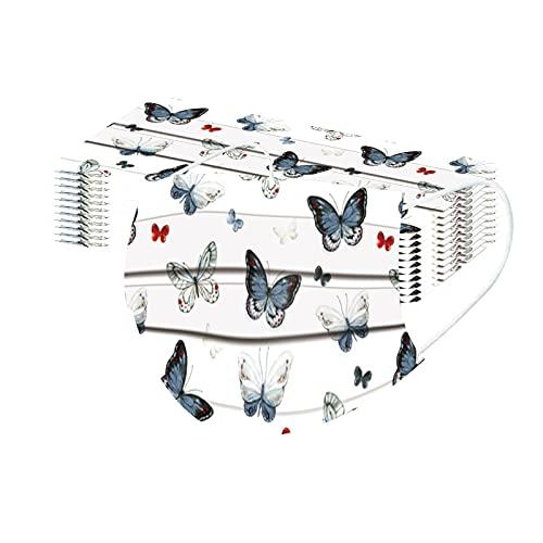 10 Piezas Mujer Elegante Mariposa_Mascarillas, 3 Capas Spunlace_Máscara, wuayi 3D Estéreo Hermosa Exquisita Impresión, Adulto Cómodo Respirable Ajustable Durable, por Deportes Ocio Partido Dama