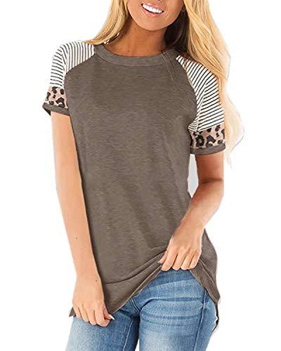 CNFIO Camisetas Mujer Manga Corta Leopardo Raya Cuello Redondo Blusas para Mujer Suelta Tops Mujer Fiesta A-Caqui L
