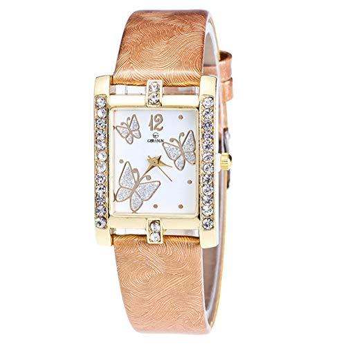 Reloj de Mujer Relojes Mujer, Reloj de Pulsera de Cuarzo con Esfera de Mariposa Cuadrada, Correa de Cuero para Mujer, Reloj de Pulsera para Mujer