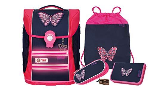 McNeill Mochila escolar Ergo Primero Butterfly para niña, 4 piezas, mochila escolar para niña, 1ª clase, fabricado en Alemania, gran juego para la escuela primaria, juego de mochila para niña