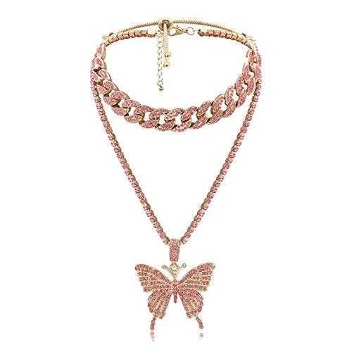 Conjunto de collar de eslabones cubanos de mariposa, gargantilla para mujer, collar con colgante de mariposa grande, cadena helada con diamantes de imitación brillantes, accesorio de moda (Rosa)
