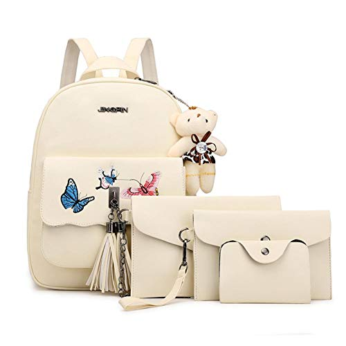 4 unids/set mariposa impresión borla mochila mujeres hombro bolsos embrague