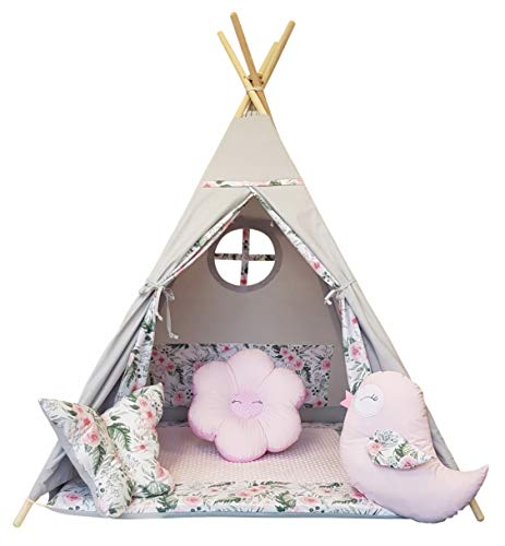 Izabell Tienda de campaña para niños Teepee Tipi para interior y exterior, juguete para niños, indio, tipi con ventana, tipi con accesorios