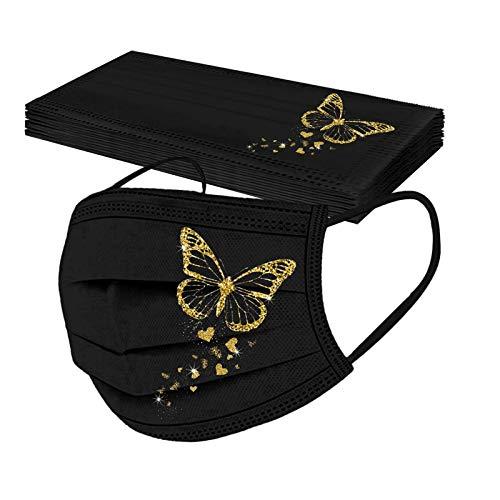 YpingLonk 10pc Unisex Adulto Protector Bufanda -Moda Mariposa impresión 3 Capa elástico Earloop Chal Bandanas-21113-10