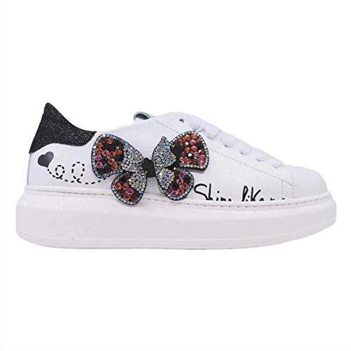 GIO+ G510A - Zapatillas de mujer de piel blanca con mariposa Blanco Size: 37 EU