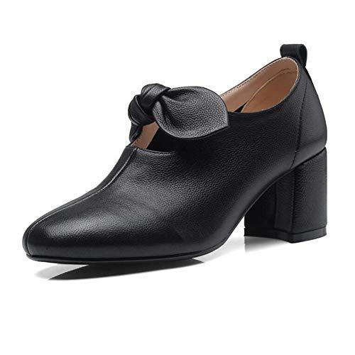 YIWU otoño Nudo de Mariposa Tacones Altos Retro Boca Profunda Zapatos Zapatos Femeninos (Color : Negro, Size : EU36/UK4/CN36)