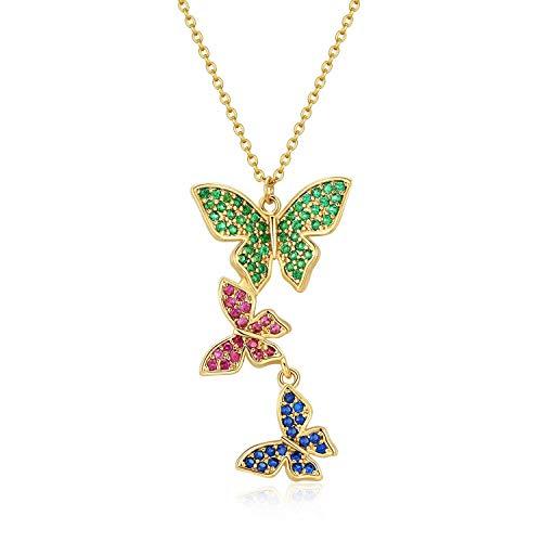 Qings Tres Mariposas Chapado en Oro Collar 14K Ajustable con Colgante de Mariposa de Circonita cúbica de Colores para Mujeres y Niñas