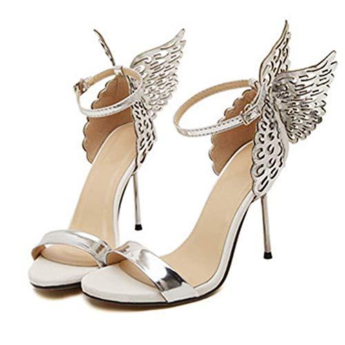 CYQ Zapatos de Moda con alas de Mariposa clásicas, Punta Abierta, Color Fino, Banquete a Juego, Sandalias de tacón Alto, Plata, 40EU