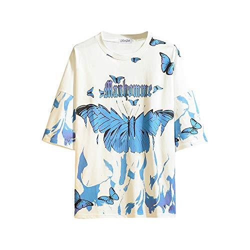GURUNVANI The Men's Graphic Tees Butterflies Camiseta Magic Fire, Blanco, XXL/3XL