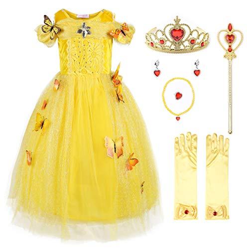 JerrisApparel Nuevo Vestido de niña Ceremonia Princesa Disfraz con Mariposa (100, Amarillo con Accesorios)