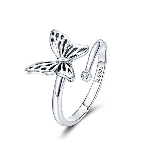 CHENGMEN Anillo ajustable de plata de ley 925 con diseño de mariposa para mujer y niña, para el día de la madre