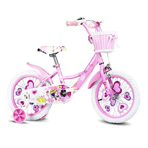LZY Princesa de la Muchacha de Flor de la Bici de BMX, Bicicletas de la Mariposa de los niños con Ruedas de Entrenamiento, Cesta Tejida de la muñeca del Portador y Negro de Neumáticos, Rosa