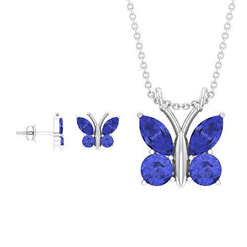 Juego de joyas de mariposa de 3,90 quilates, oro, pendientes y collar de tanzanita, corte marquesa azul, piedra de nacimiento de diciembre, collar de gota (calidad AAA), 14K Oro blanco Con cadena