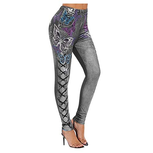 Pantalon Leggings Mujer Pantalones De Harén con Estampado De Mariposas para Mujer, Pantalones De Entrenamiento para Correr, Pantalones De Mezclilla, Legging De Fitness, Pantalones Elásticos