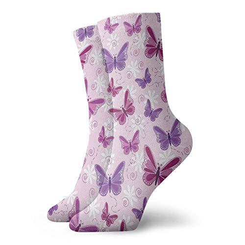 Calcetines suaves de longitud media de pantorrilla, varias mariposas voladoras con colores de hadas, estilo hippie, diseño mágico, calcetines para hombres y mujeres