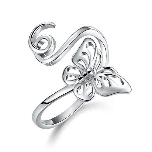 ✦Regalos para Navidad✦Anillos de plata de ley 925 chapados en oro de 18 quilates con diseño de animales, talla hueca, mariposa, abejas, anillos abiertos para niñas y mujeres