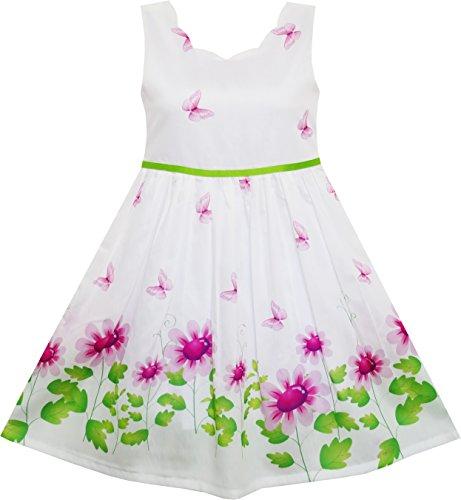 Sunny Fashion Vestido para niña Morado Girasol Verde Hojas Mariposa 7 años