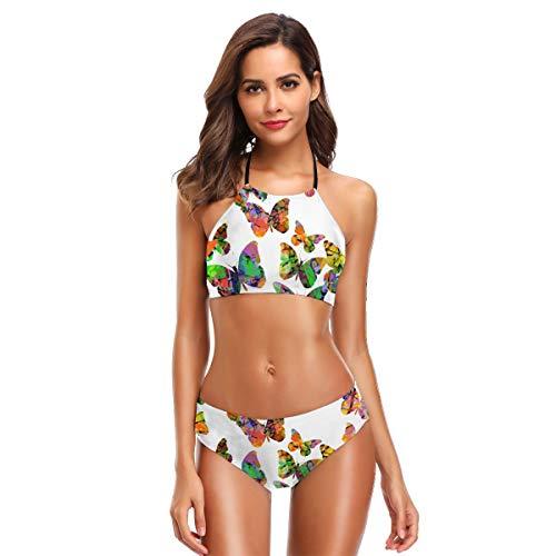 JOJOSHOP - Bañador de dos piezas para mujer, diseño de mariposas voladoras, cuello alto, cuello alto, traje de baño