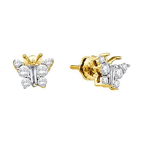 1/2Total Peso en quilates diamante mariposa Pendientes