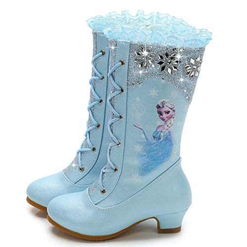 O.AMBW. Botas de Nieve para niñas, Zapatos de Princesa Elsa, Botas de Invierno para niños con Forro cálido, Ligero Botas Antideslizantes para niños Accesorios para Disfraces de Reina de Hielo