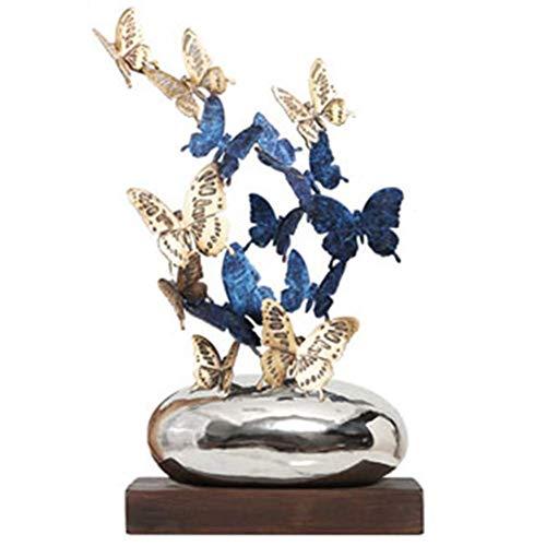 Escultura de Mariposa Sala de Estar Adornos de Mariposa de Cobre Puro Artesanía Arte del hogar Decoración Oficina Regalo de Apertura Arreglos de la Suerte Color 32.5 * 20 * 62cm