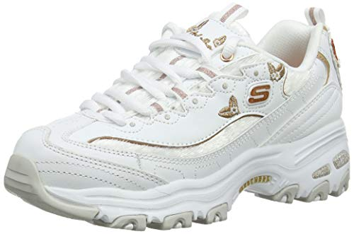 Skechers D'Lites-Butterfly Moments, Zapatillas Mujer, Multicolor (WTRG Black Leather/Mesh/Gold Trim), 35 EU