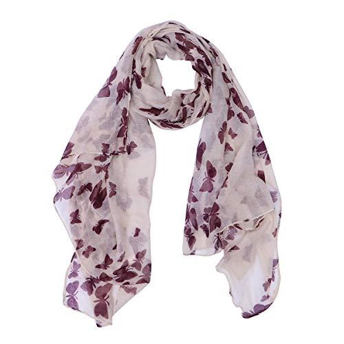 ROSENCE - 180*100 cm, Pañuelo o chal suave de gasa que pega con todo para mujeres y niñas con mariposas impresas color rosa.