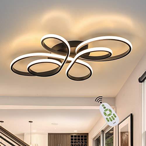 Lámpara de techo LED ZMH regulable con mando a distancia en color negro Lámpara de techo LED para salón Lámpara de salón creativa de 65 vatios fabricada en metal en forma de mariposa