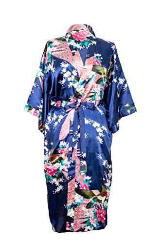 Kimono de CC Collections 16 Colores Shipping Bata de Vestir túnica lencería Ropa de Noche Prenda Despedida de Soltera (Azul Marino)