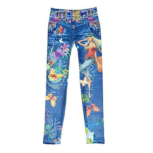 Huixin Pantalones Vaqueros Largos De Otoño para Pantalones Vaqueros Stretch Destruidos Mujer Mirada Colorida Mariposa Impresiones De Tatuajes Leggings Treggins (Color : Blau, Size : One Size)