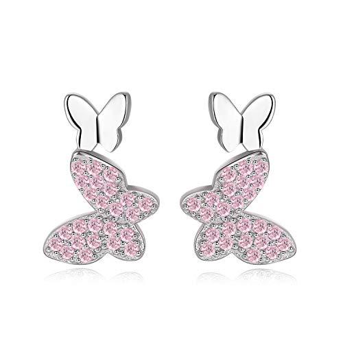 Qings Pendientes Mariposa Plata de Ley 925 - Pendientes Mariposa Hipoalergénicos para Niña, Aretes de Mariposa con Circonita Cúbica para Mujer