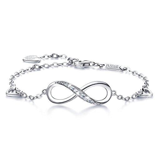 Billie Bijoux Pulsera de plata esterlina Mujer Símbolo Amor Infinito Brazalete de mujer ajustable regalo ideal el día de San Valentín (A-silver)