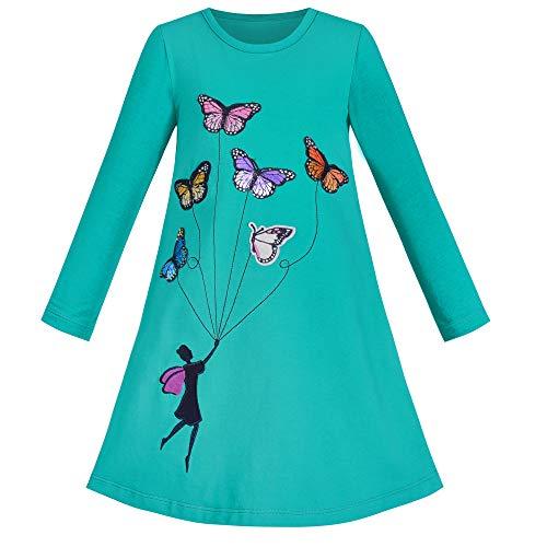 Vestido para niña Manga Larga Azul Mariposa Bordado Casual 5 años