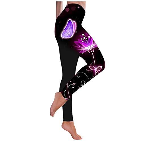 yiouyisheng Leggings de yoga para mujer, elegantes, deportivos, para correr, entrenar, elásticos, con estampado de mariposas, pantalones de yoga, pantalones de jogging, leggins estampados. morado S